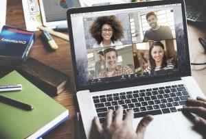 Zoom meeting on desktop working from home