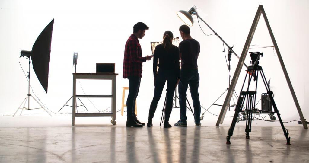 Film crew in the studio